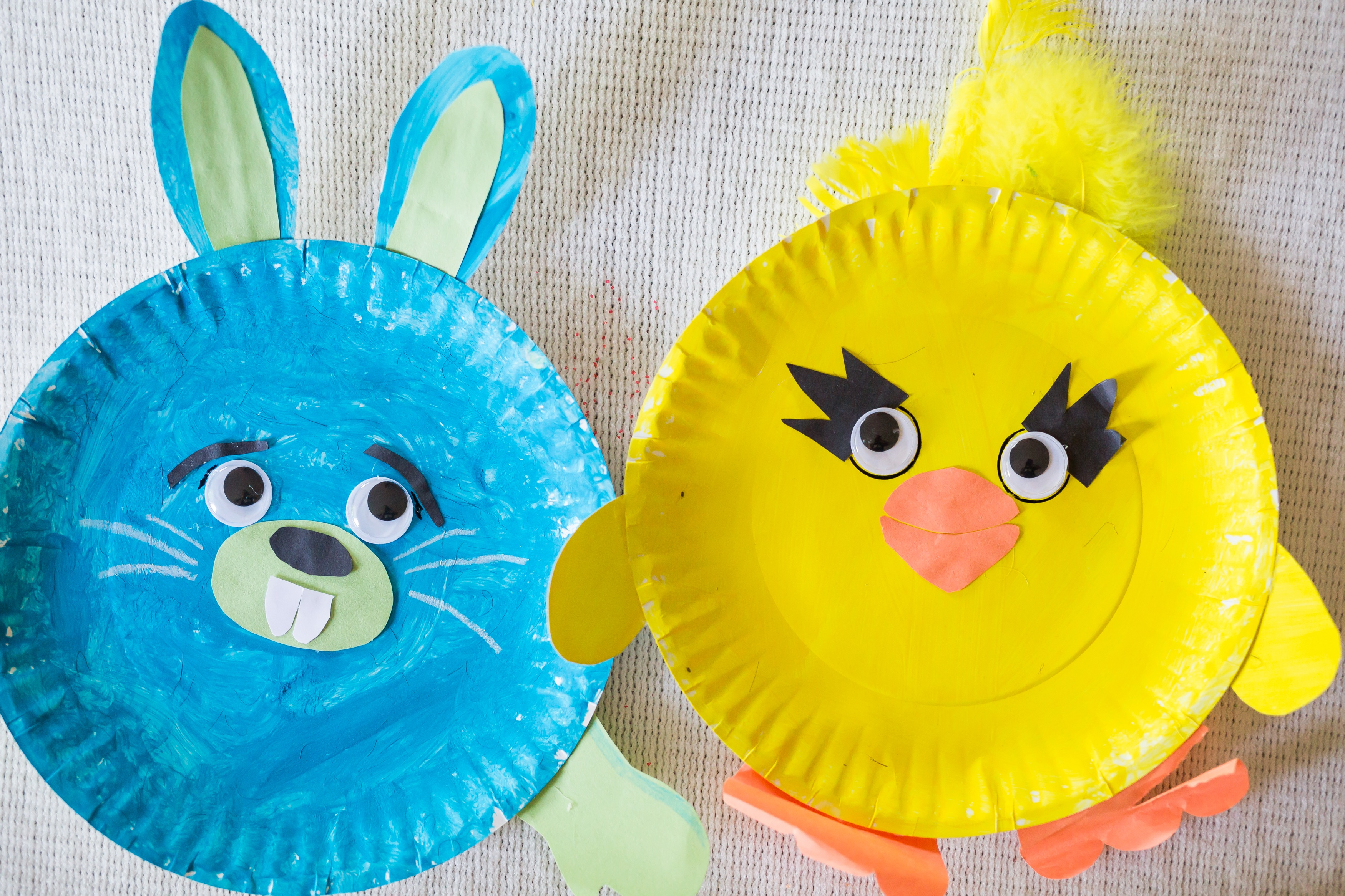 DIY Ducky and Bunny Paper Plate Craft Toy Story 4, Toy Story 4 Craft, Magic for Miles